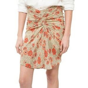 Floral Poppy Print Ruched Skirt